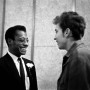 James Baldwin and Bob Dylan meeting at the Emergency Civil Liberties Committee's Bill of Rights Dinner. New York City 1963.